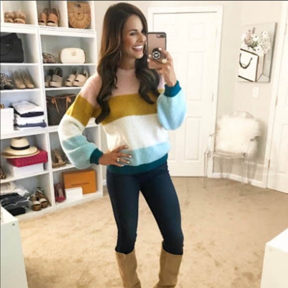 f7c39effa Topshop Colorblock Knit Pullover Sweater